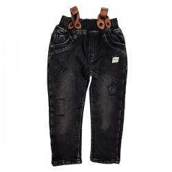 Pantaloni negri cu bretele detașabile SA 5614
