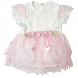 Rochie din bumbac cu tul roz BB 138