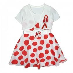 Rochiță albă cu buline roșii S 1106