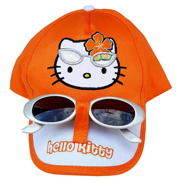 Sapca portocalie+ ochelari COD F 557